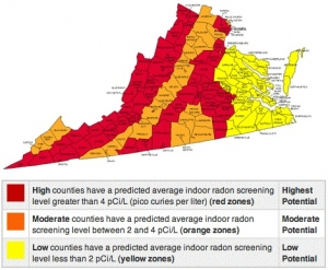 Richmond Radon Inspection Central Virginia Home Inspections - Radon us map